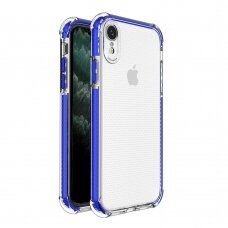 Spring Armor clear TPU gel rugged protective cover with colorful frame for iPhone XR blue