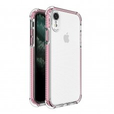 Spring Armor clear TPU gel rugged protective cover with colorful frame for iPhone XR pink