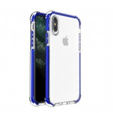 Spring Armor clear TPU gel rugged protective cover with colorful frame for iPhone XS / iPhone X blue