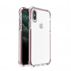 Spring Armor clear TPU gel rugged protective cover with colorful frame for iPhone XS / iPhone X pink