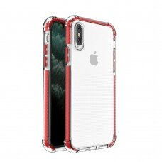 Spring Armor clear TPU gel rugged protective cover with colorful frame for iPhone XS / iPhone X red