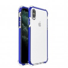 Spring Armor clear TPU gel rugged protective cover with colorful frame for iPhone XS Max blue