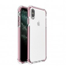 Spring Armor clear TPU gel rugged protective cover with colorful frame for iPhone XS Max pink