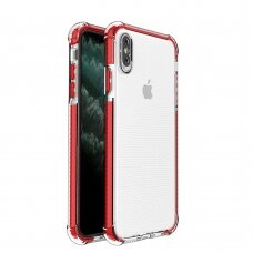 Spring Armor clear TPU gel rugged protective cover with colorful frame for iPhone XS Max red