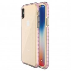 Spring Case clear TPU gel protective cover with colorful frame for iPhone XS / iPhone X light pink (IPXXS)