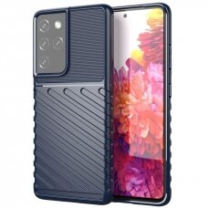 Thunder Case Flexible Tough Rugged Cover TPU Case for Samsung Galaxy S21 Ultra 5G blue
