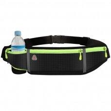 Ultimate reflective stripe Running Belt with headphone outlet 4-pocket Black