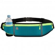 Ultimate reflective stripe Running Belt with headphone outlet 4-pocket Blue