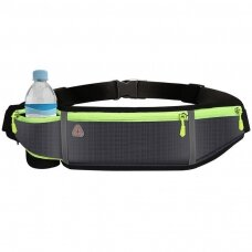 Ultimate reflective stripe Running Belt with headphone outlet 4-pocket Gray