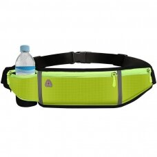 Ultimate reflective stripe Running Belt with headphone outlet 4-pocket Green