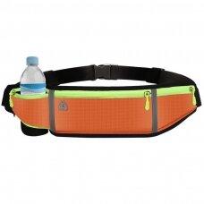 Ultimate reflective stripe Running Belt with headphone outlet 4-pocket Orange