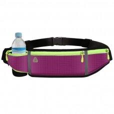 Ultimate reflective stripe Running Belt with headphone outlet 4-pocket Purple