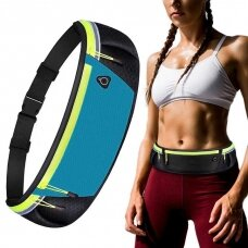 Ultimate reflective stripe Running Belt with headphone outlet blue