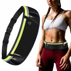 Ultimate reflective stripe Running Belt with headphone outlet green