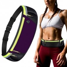 Ultimate reflective stripe Running Belt with headphone outlet purple