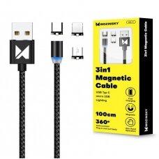 Wozinsky Magnetic Cable USB / micro USB / USB Typ C / Lightning 1m with LED light black (WMC-01) Ex-display