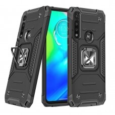 Wozinsky Ring Armor Case Kickstand Tough Rugged Cover for Motorola Moto G8 Power black