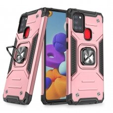 Wozinsky Ring Armor Case Kickstand Tough Rugged Cover for Samsung Galaxy A21S pink
