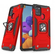 Wozinsky Ring Armor Case Kickstand Tough Rugged Cover for Samsung Galaxy A21S red