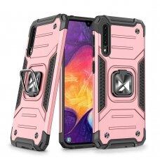 Wozinsky Ring Armor Case Kickstand Tough Rugged Cover for Samsung Galaxy A50s / Galaxy A50 / Galaxy A30s pink