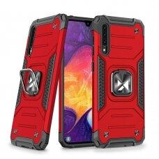 Wozinsky Ring Armor Case Kickstand Tough Rugged Cover for Samsung Galaxy A50s / Galaxy A50 / Galaxy A30s red