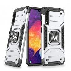 Wozinsky Ring Armor Case Kickstand Tough Rugged Cover for Samsung Galaxy A50s / Galaxy A50 / Galaxy A30s silver