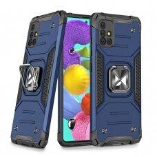 Wozinsky Ring Armor Case Kickstand Tough Rugged Cover for Samsung Galaxy A51 5G blue