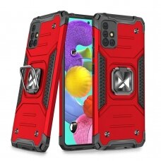 Wozinsky Ring Armor Case Kickstand Tough Rugged Cover for Samsung Galaxy A51 5G red