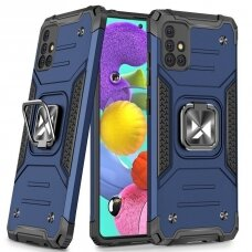 Wozinsky Ring Armor Case Kickstand Tough Rugged Cover for Samsung Galaxy A51 blue