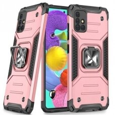 Wozinsky Ring Armor Case Kickstand Tough Rugged Cover for Samsung Galaxy A51 pink