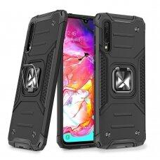 Wozinsky Ring Armor Case Kickstand Tough Rugged Cover for Samsung Galaxy A70 black