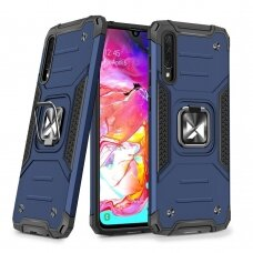 Wozinsky Ring Armor Case Kickstand Tough Rugged Cover for Samsung Galaxy A70 blue