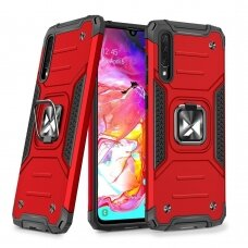 Wozinsky Ring Armor Case Kickstand Tough Rugged Cover for Samsung Galaxy A70 red