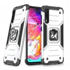 Wozinsky Ring Armor Case Kickstand Tough Rugged Cover for Samsung Galaxy A70 silver