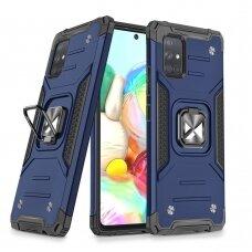 Wozinsky Ring Armor Case Kickstand Tough Rugged Cover for Samsung Galaxy A71 5G blue