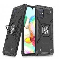 Wozinsky Ring Armor Case Kickstand Tough Rugged Cover for Samsung Galaxy A71 black
