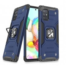 Wozinsky Ring Armor Case Kickstand Tough Rugged Cover for Samsung Galaxy A71 blue
