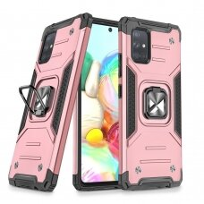 Wozinsky Ring Armor Case Kickstand Tough Rugged Cover for Samsung Galaxy A71 pink