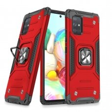 Wozinsky Ring Armor Case Kickstand Tough Rugged Cover for Samsung Galaxy A71 red