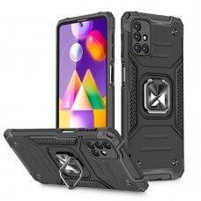 Wozinsky Ring Armor Case Kickstand Tough Rugged Cover for Samsung Galaxy M31s black