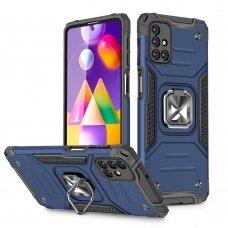 Wozinsky Ring Armor Case Kickstand Tough Rugged Cover for Samsung Galaxy M31s blue