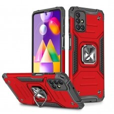 Wozinsky Ring Armor Case Kickstand Tough Rugged Cover for Samsung Galaxy M31s red