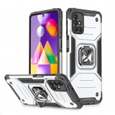 Wozinsky Ring Armor Case Kickstand Tough Rugged Cover for Samsung Galaxy M31s silver