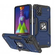 Wozinsky Ring Armor Case Kickstand Tough Rugged Cover for Samsung Galaxy M51 blue