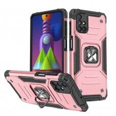 Wozinsky Ring Armor Case Kickstand Tough Rugged Cover for Samsung Galaxy M51 pink
