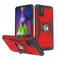 Wozinsky Ring Armor Case Kickstand Tough Rugged Cover for Samsung Galaxy M51 red