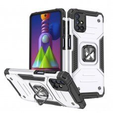 Wozinsky Ring Armor Case Kickstand Tough Rugged Cover for Samsung Galaxy M51 silver