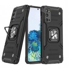 Wozinsky Ring Armor Case Kickstand Tough Rugged Cover for Samsung Galaxy S20 black