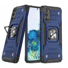 Wozinsky Ring Armor Case Kickstand Tough Rugged Cover for Samsung Galaxy S20 blue