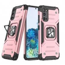 Wozinsky Ring Armor Case Kickstand Tough Rugged Cover for Samsung Galaxy S20 pink